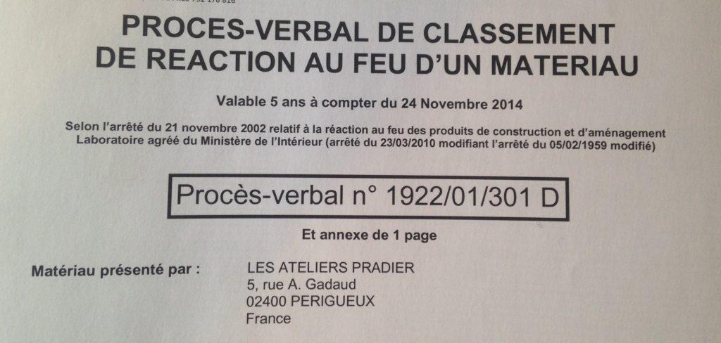 certification résistance au feu des pièces floquées / Certification fire resistance of the flocked partss